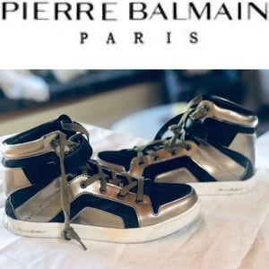 PIERRE BALMAIN HIGH TOP LEATHER & Hide Sneakers 37